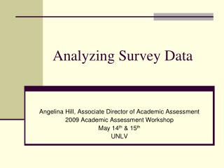 Analyzing Survey Data