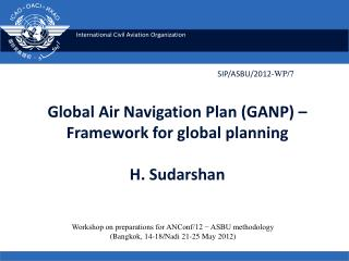 Global Air Navigation Plan (GANP) – Framework for global planning H. Sudarshan