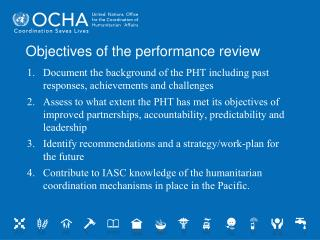 Objectives of the performance review