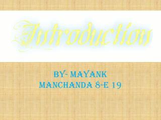 BY- MAYANK MANCHANDA 8-E 19