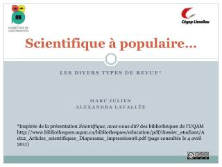 Scientifique à populaire…