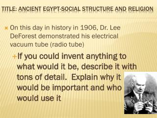 Title: Ancient Egypt-Social Structure and Religion