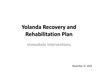 Yolanda Recovery and Rehabilitation Plan