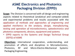 ASME Electronics and Photonics Packaging Division (EPPD)