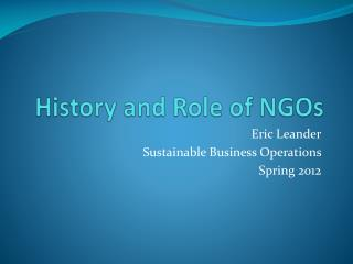 History and Role of NGOs