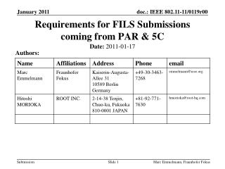 Requirements  for FILS  Submissions coming from PAR & 5C