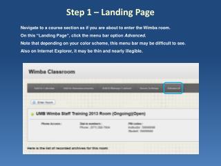 Step 1 – Landing Page