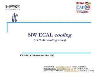 SiW  ECAL  cooling (+HCAL cooling news)