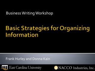 Basic  Strategies  for  Organizing Information