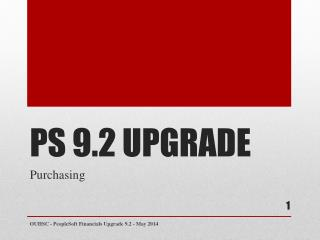 PS 9.2 UPGRADE