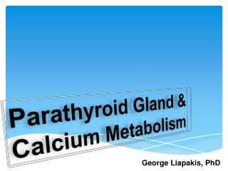 Parathyroid Gland  &  Calcium Metabolism