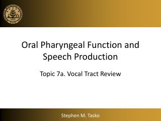 Oral Pharyngeal Function and Speech Production