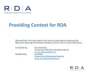 Providing Context for RDA