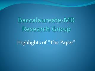 Baccalaureate-MD Research Group