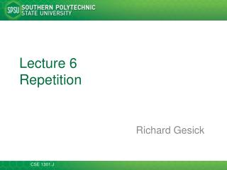 Lecture  6 Repetition