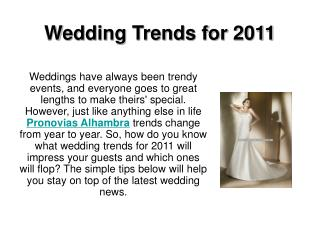 Wedding Trends for 2011