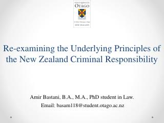Re-examining the Underlying Principles of the New Zealand Criminal Responsibility