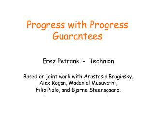 Progress with Progress Guarantees
