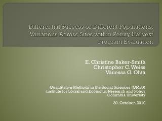E. Christine Baker-Smith Christopher C. Weiss Vanessa G.  Ohta