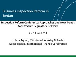 Business Inspection Reform in Jordan