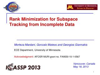 Rank Minimization for Subspace Tracking from Incomplete Data