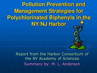Pollution Prevention and Management Strategies for Polychlorinated Biphenyls in the NY
