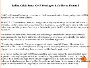 Italian Crisis Sends Gold Soaring on Safe-Haven Demand