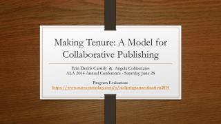 Making Tenure: A Model for Collaborative Publishing