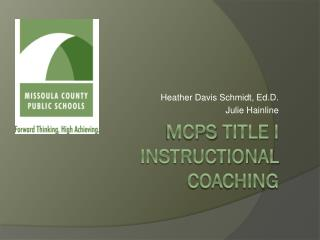 Mcps  Title I instructional Coaching