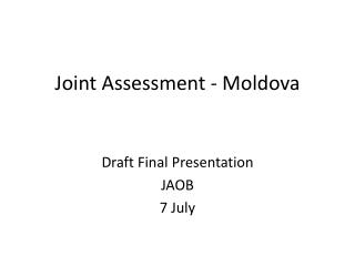 Joint Assessment - Moldova