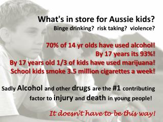 What's in store for Aussie kids?  Binge drinking?  risk taking?  violence?