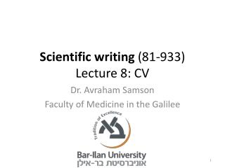 Scientific writing  (81-933) Lecture  8: CV