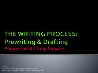 THE WRITING PROCESS: Prewriting & Drafting Plagiarism & Citing Sources
