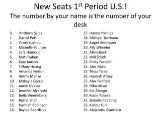New Seats  1 st  Period U.S.! The number by your name is the number of your desk