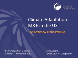 Climate Adaptation M&E in the US
