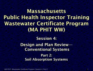Massachusetts  Public Health Inspector Training Wastewater Certificate Program  (MA PHIT WW)