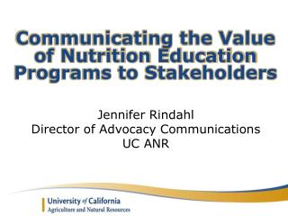 Communicating the Value of Nutrition Education Programs to Stakeholders