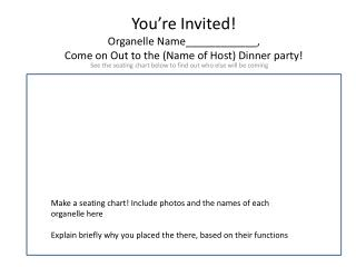 You're Invited! Organelle Name____________, Come on Out to the (Name of Host) Dinner party!