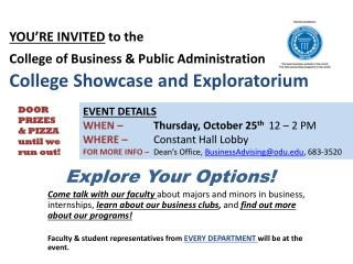 EVENT DETAILS WHEN – Thursday, October 25 th 12 – 2 PM WHERE –  Constant Hall Lobby