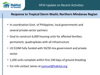 Response to Tropical Storm  Washi ; Northern Mindanao Region