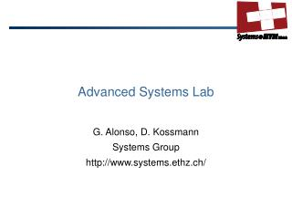 Advanced Systems  Lab