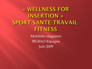«  W ellness  for Insertion » Sport-Santé-Travail-Fitness