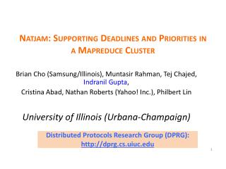 Natjam : Supporting Deadlines and Priorities in a  Mapreduce  Cluster