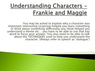Understanding Characters – Frankie and Maggie