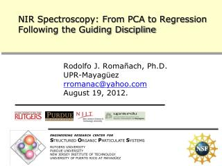 NIR Spectroscopy: From PCA to Regression Following the Guiding Discipline
