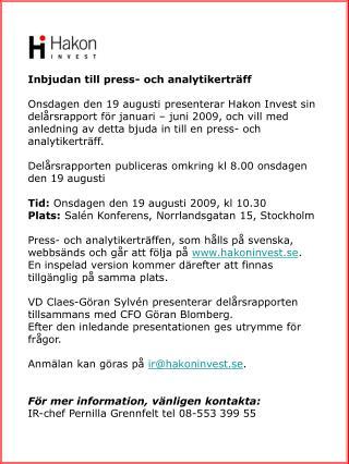 Inbjudan till press- och analytikertr�ff
