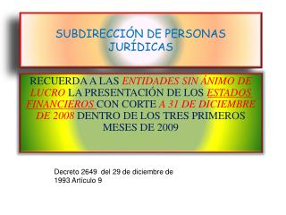 SUBDIRECCIÓN DE PERSONAS JURÍDICAS