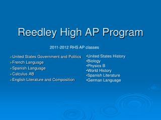 Reedley High AP Program
