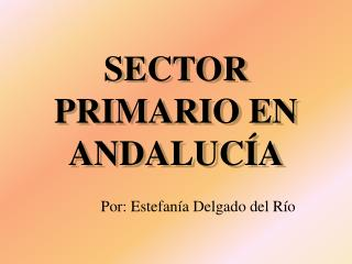SECTOR PRIMARIO EN ANDALUC