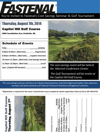You're invited to Fastenal's Cost Savings Seminar & Golf Tournament